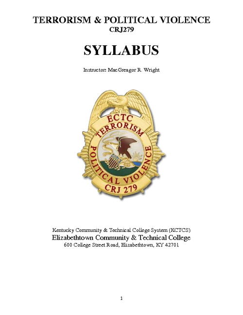 Terrorism & Political Violence - CRJ279 / SYLLABUS