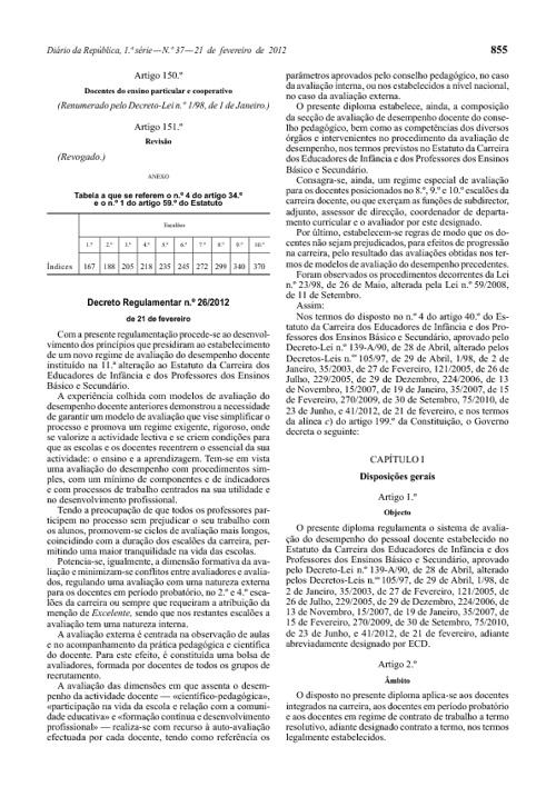 Decreto regulamentar nº26/2012