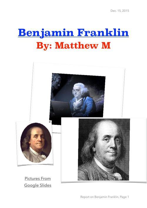 Matthew Biogarphy Research Ben F