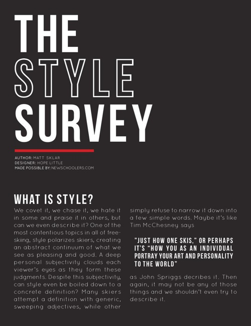 The Style Survey - Newschoolers.com