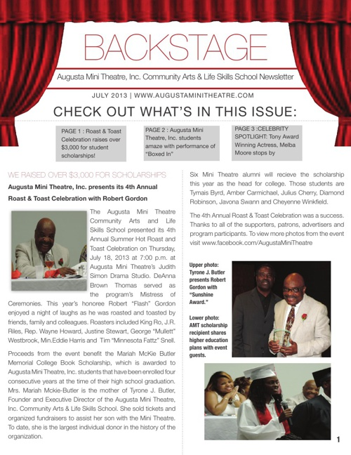 Backstage Newsletter | Augusta Mini Theatre, Inc. | July 2013