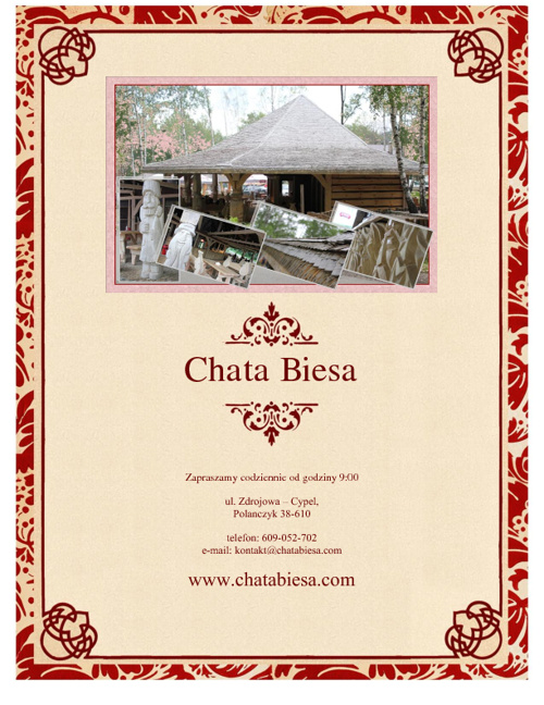 Chata Biesa menu, Polanczyk