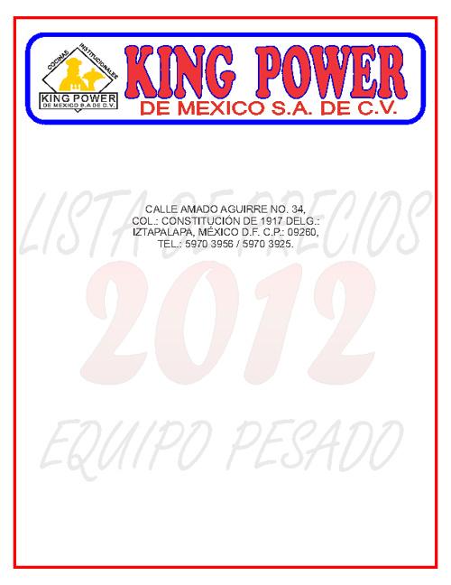 CATALOGO KING POWER DE MEXICO S.A DE C.V