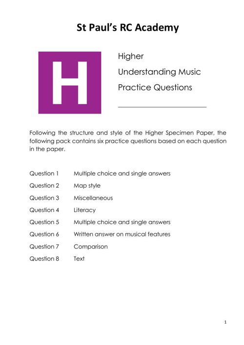 Higher Practice Questions booklet