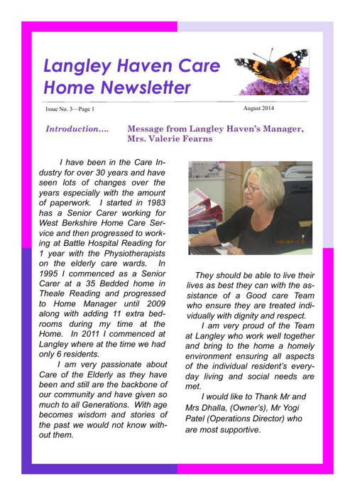 Newsletter May- August 2014