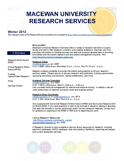 Research Services Newsletter Winter 2011/12 Edition