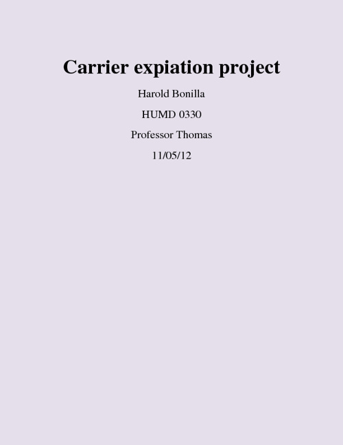 Carrier expiation project