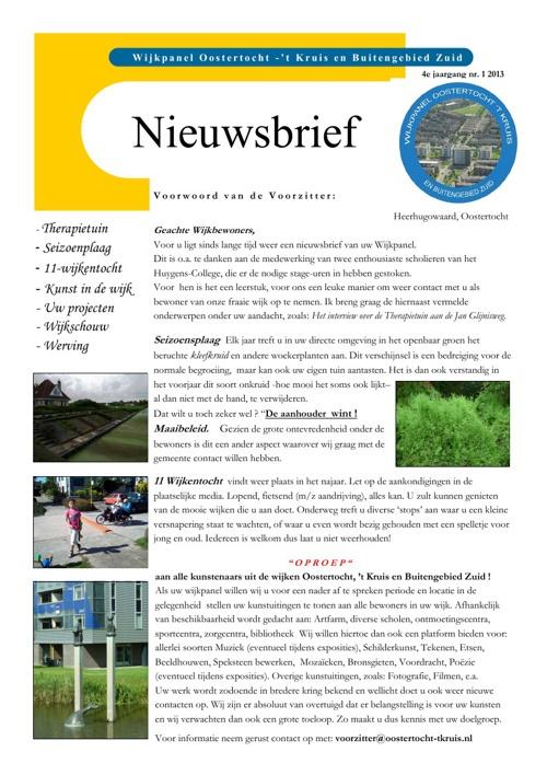 Nieuwsbrief Oostertocht Juli 2013
