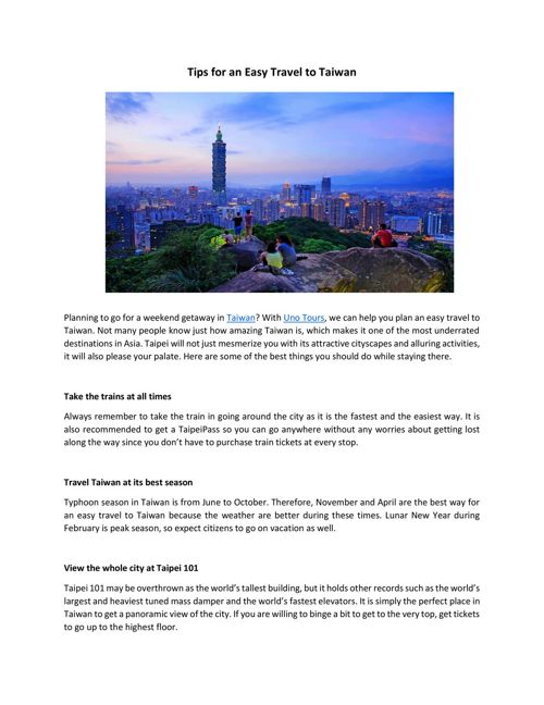 Tips for an Easy Travel to Taiwan