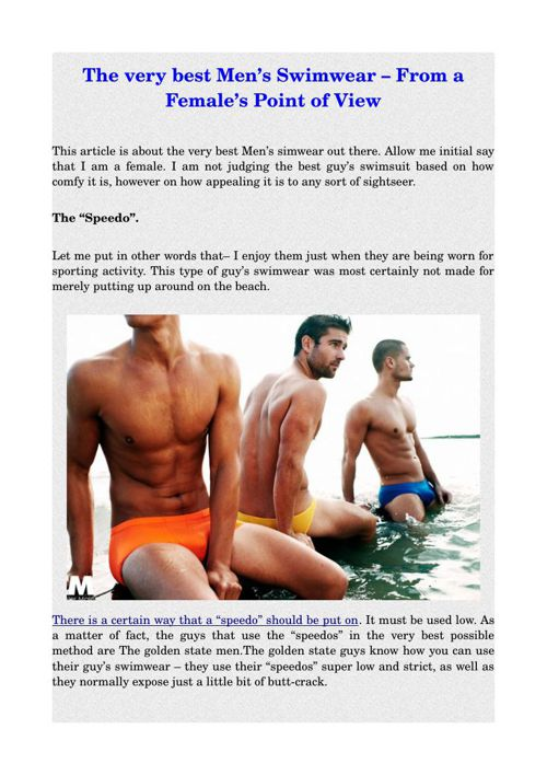 The very best Men's Swimwear – From a Female's Point of View