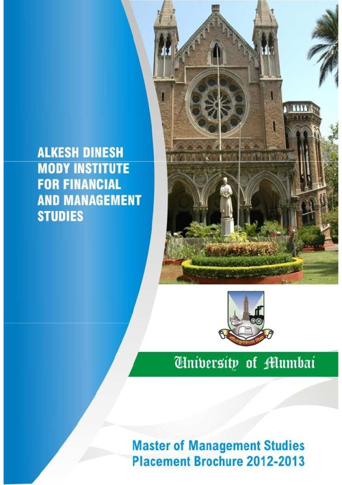 Alkesh Dinesh Mody Institute: Placement Brochure 2012-13