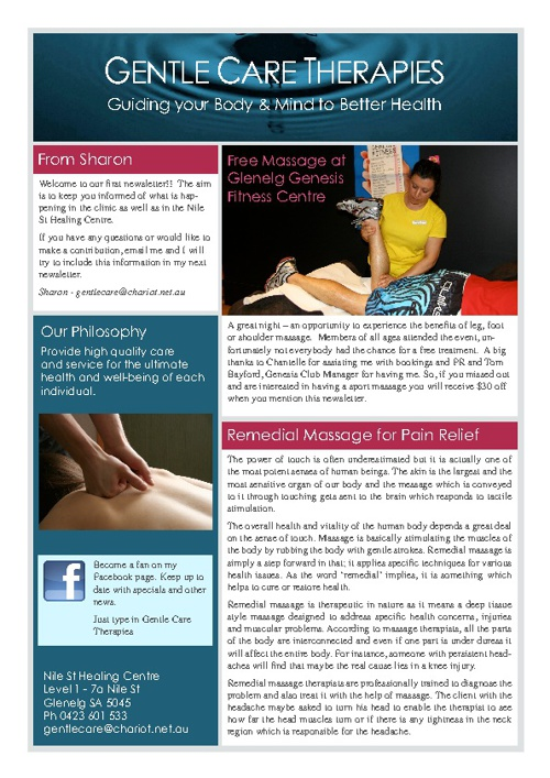 Gentle Care Therapies Newsletter - Issue 2