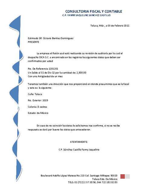 1er. Ejer. de Comb. de correspondencia Fanny J. Sánchez 601-C