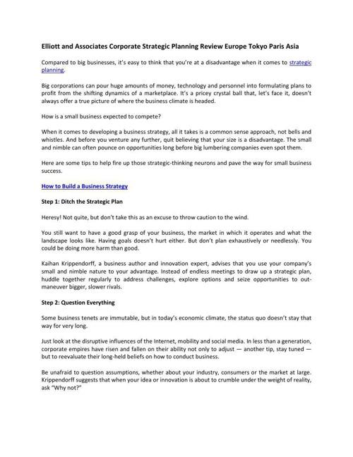 Elliott and Associates Corporate Strategic Planning Review Europ