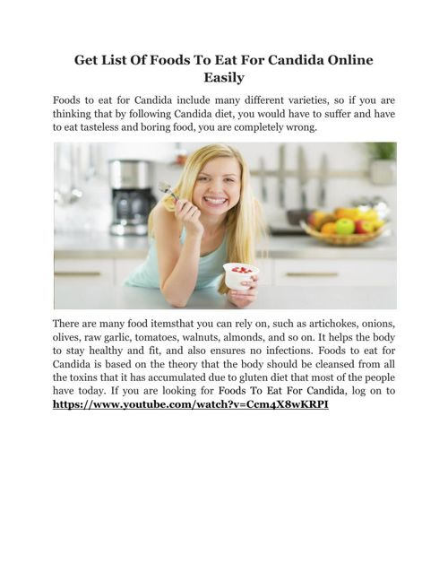 Get List Of Foods To Eat For Candida Online Easily