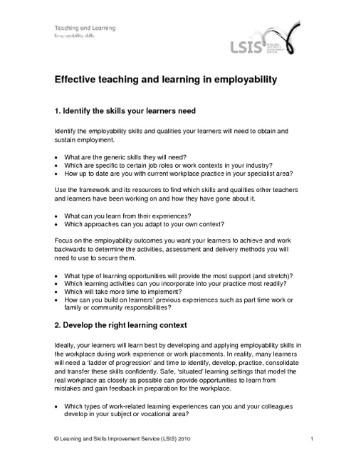 Effective Teaching and Learning in Employability