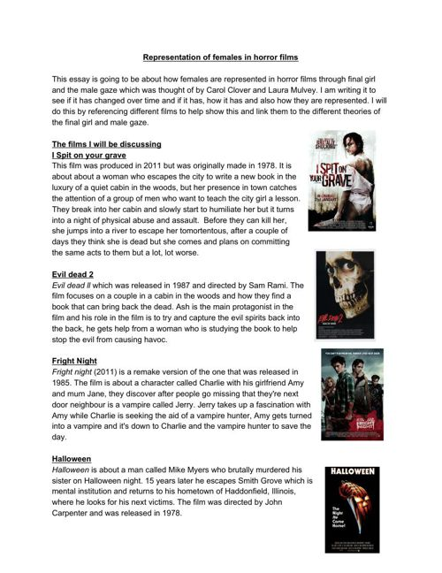 Representation of females in horror films