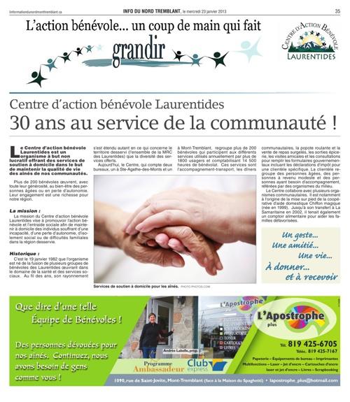 Encart journal Info du Nord Tremblant - janvier 2013
