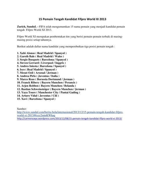 15 Pemain Tengah Kandidat Fifpro World XI 2013