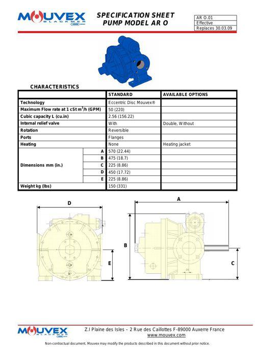 Mouvex AR O Spec Sheet