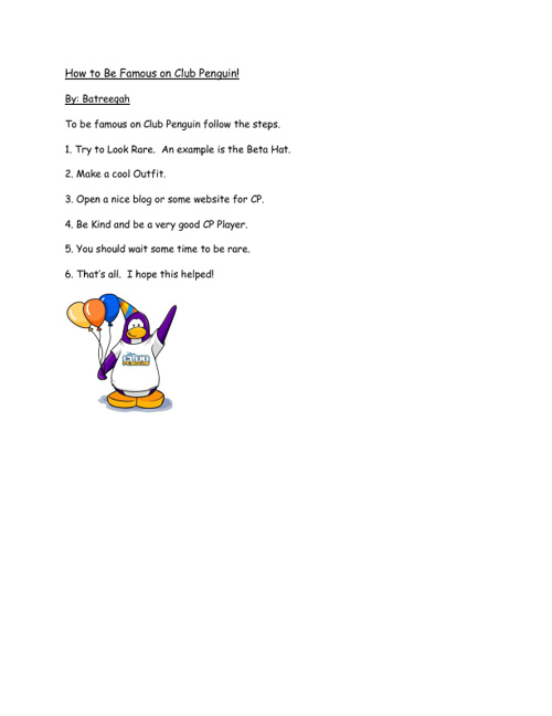 How to be Famous on Club Penguin!
