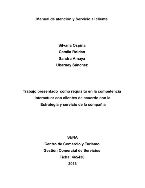 Manual de servicio y Atencion al cliente