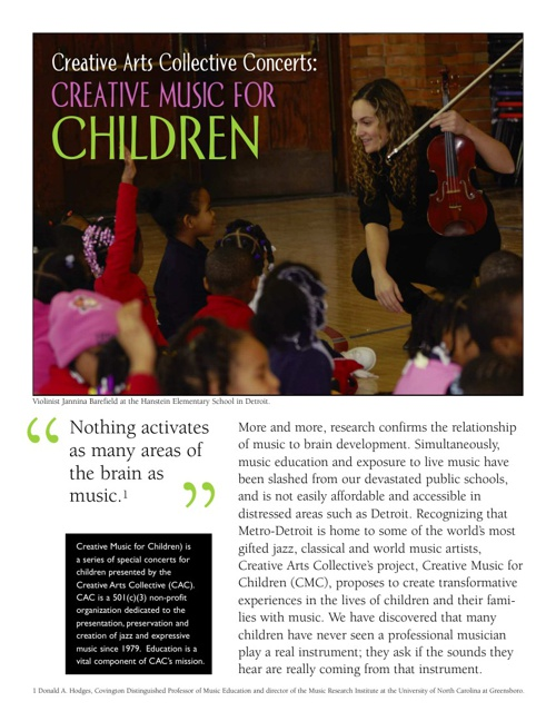 Creative Music for Children Concerts, Creative Arts Collective