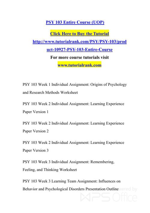 PSY 103 Potential Instructors / tutorialrank.com