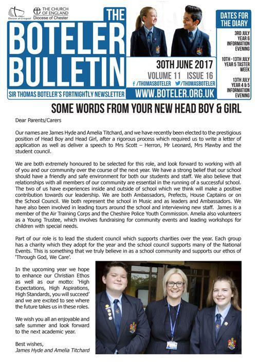 Boteler Bulletin 30th June 2017