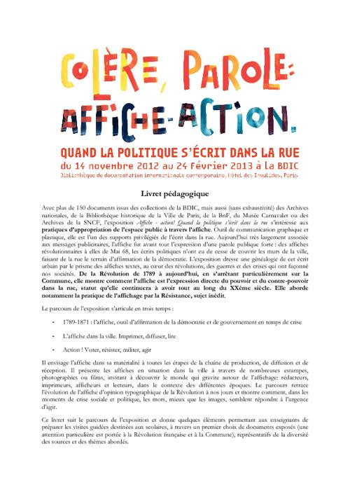 Dossier pédagogique de l'exposition