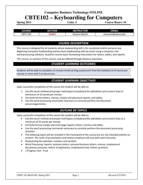 CBT 102- 01845 Spring 2013 Syllabus