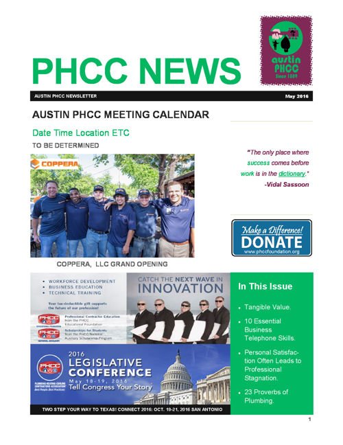 AUSTIN PHCC MAY 2016 NEWSLETTER