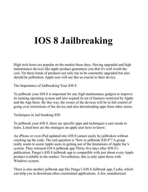 jailbreak your ios 8