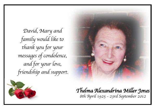 Thelma Jones Thank You Card