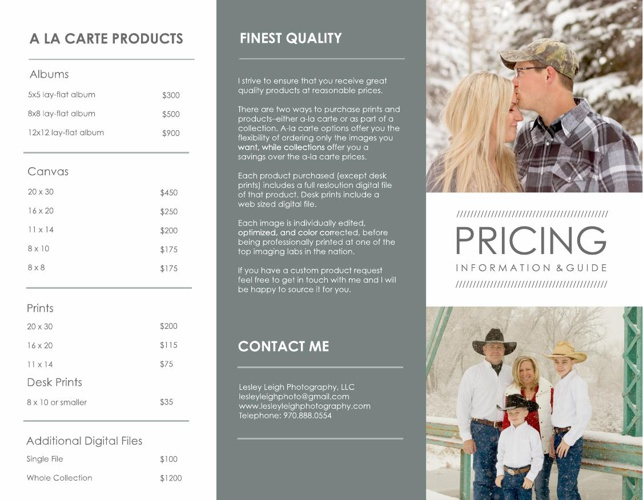 Pricing guide for Lesley Leigh Photography