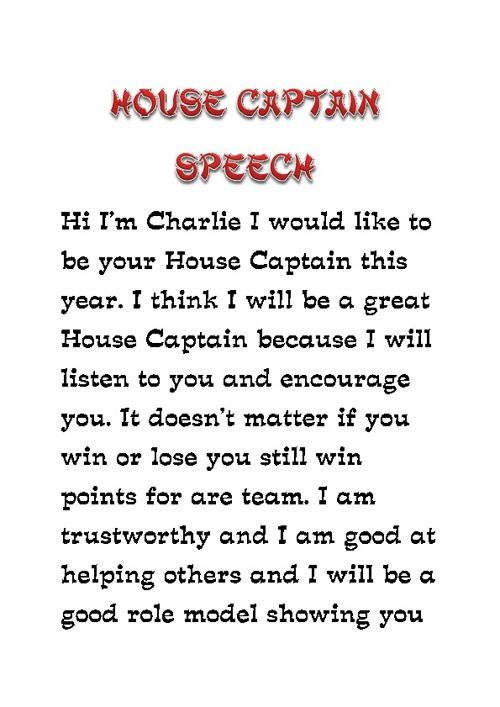 house captain speach