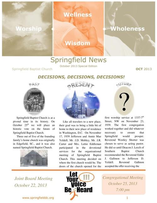 SBC News Special Edition DECISIONS, DECISIONS, DECISIONS!