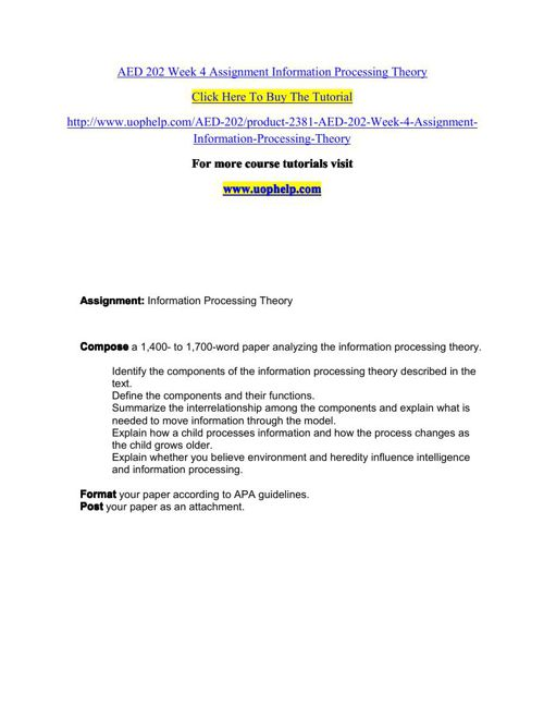 AED 202 Week 4 Assignment Information Processing Theory