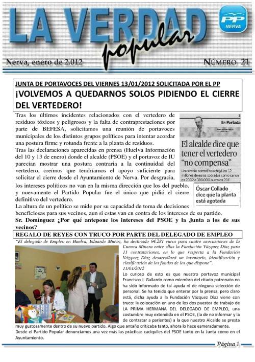 """Revista Digital """"La Verdad Popular"""" Nº 21"""