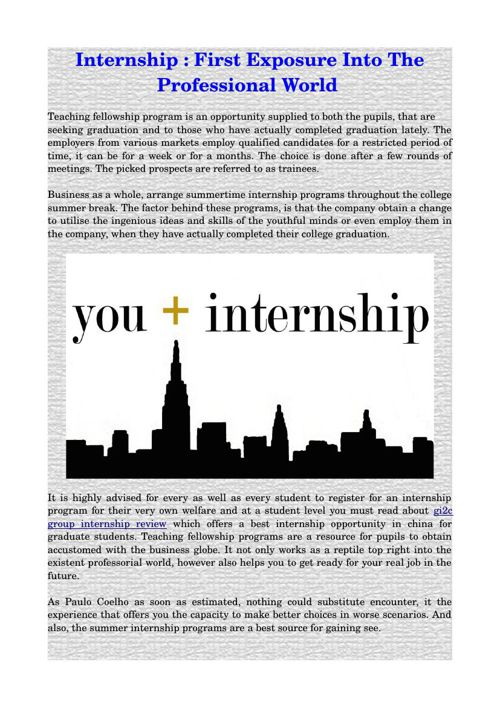 Internship : First Exposure into the Professional World