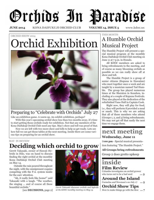 Orchids In Paradise, Volume 13, Issue 5 (June 2014)