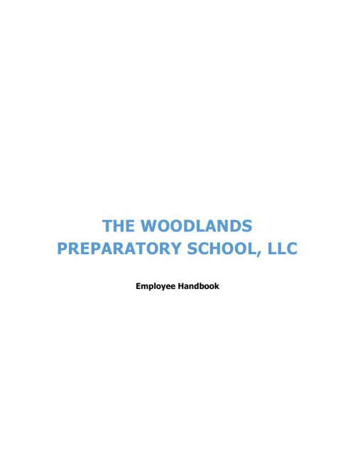 Woodlands Preparatory School Employee Handbook