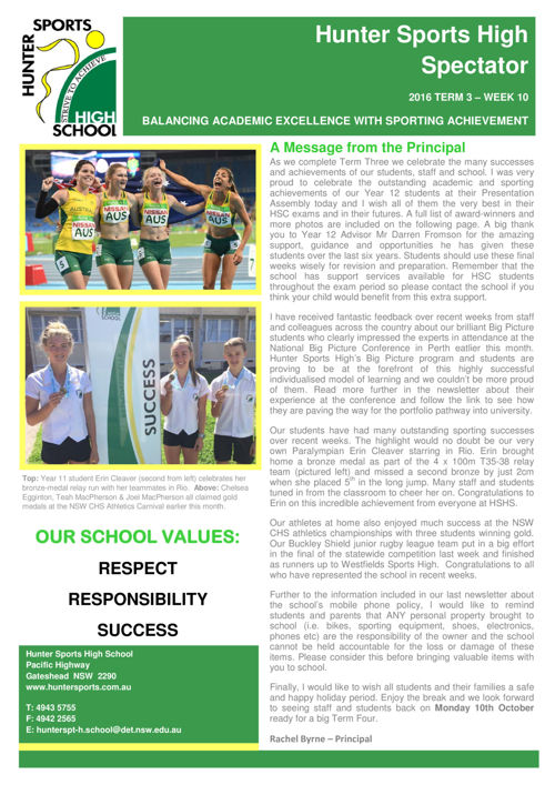 Term 3 Week 10 Newsletter 2016