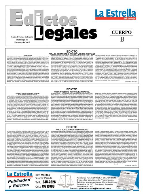 Judiciales 26 domingo - febrero 2017