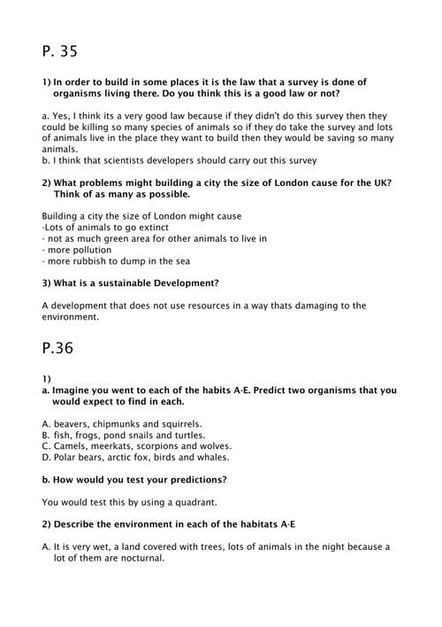 Science Homework. p35 - 37