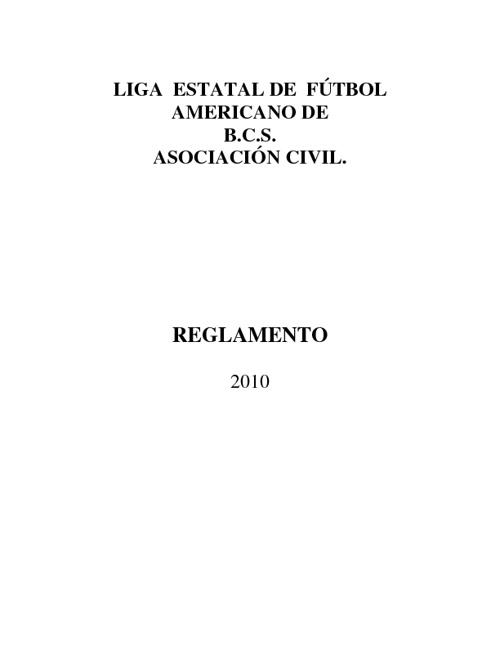 REGLAMENTO GENERAL LEFA BCS, 2010