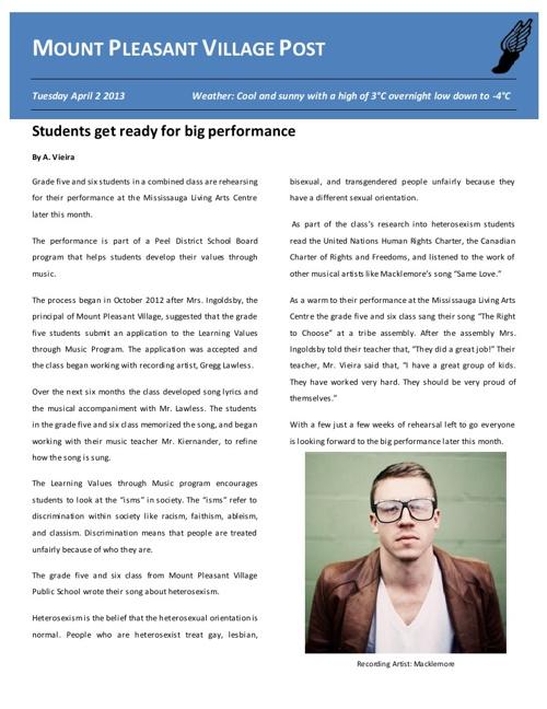 Class Newspaper: First Edition
