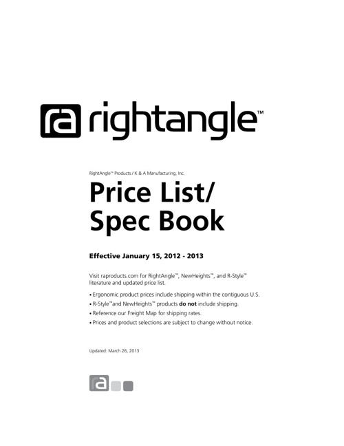 RightAngle Price List