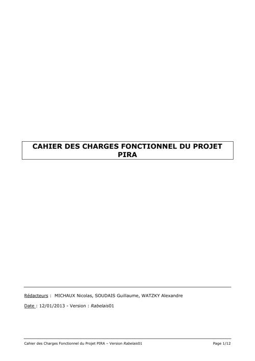 Cahier des Charges Fonctionnel du Système PIRA