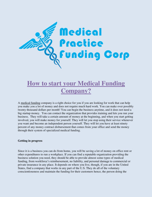 How_to_start_your_Medical_Funding_Company